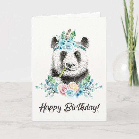 Watercolor Floral Spray Boho Panda Happy Birthday Card Zazzle