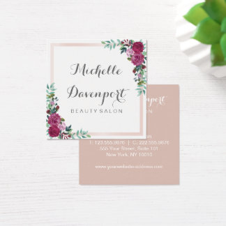 Watercolor floral square business card