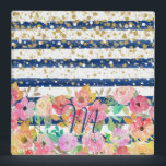 "Watercolor floral stripes and confetti design 3 ring binder<br><div class=""desc"">Modern,  stylish,  hand paint watercolor flowers,  elegant faux gold glitter confetti dots,  and trendy lapis blue brush strokes stripes.  Mystical,  whimsical,  decorative,  illustration artwork. Fashion,  popular,  glamour,  classy,  bohemian,  feminine image.</div>"