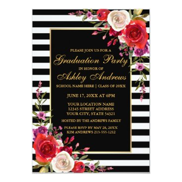 Professional Business Watercolor Floral Stripes Gold Graduation Party B Card