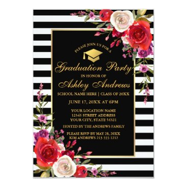 Professional Business Watercolor Floral Stripes Gold Graduation Party GC Card