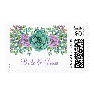 Watercolor Floral Succulent Wedding Postage