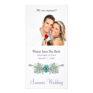 Watercolor Floral Succulent Wedding Save The Date Card