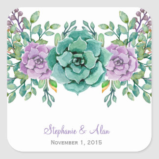 Watercolor Floral Succulent Wedding Stickers