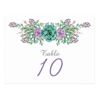 Watercolor Floral Succulent Wedding Table Number Postcard