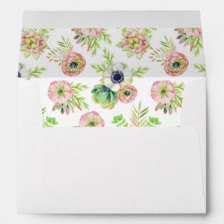 Watercolor Floral & Succulents -  Wedding Envelope
