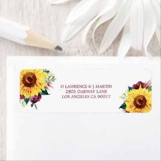 Watercolor Floral Sunflowers Burgundy Roses Label