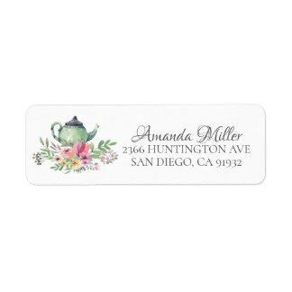 Watercolor Floral Tea Bridal Return Address Label