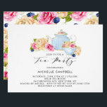 "Watercolor Floral Tea Party Invitation<br><div class=""desc"">Elegant and feminine tea party invitation. This floral tea party invitation features watercolor illustrations of teapot,  teacup,  ivory roses,  pink roses and blueberry with floral pattern background. Perfect for tea parties,  garden and spring events.</div>"