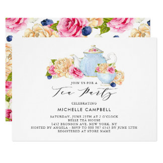 Watercolor Floral Tea Party Invitation