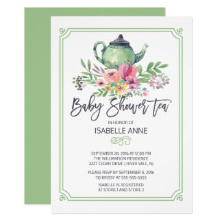 Watercolor Floral Tea Party Neutral Baby Shower Card