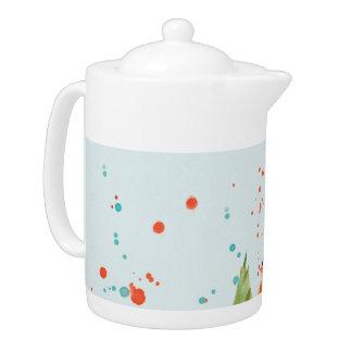 Watercolor Floral Teapot