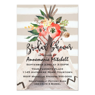Watercolor Floral Teepee Bridal Shower Card