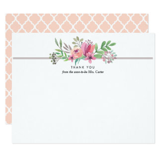 Watercolor Floral Thank You Flat Note Card