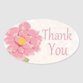 Watercolor Floral Thank You Pink Peony Flower Oval Sticker