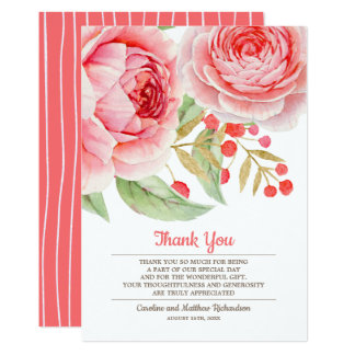 Watercolor Floral Thank You Wedding Flat Cards