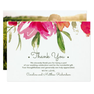 Watercolor Floral Thank You Wedding Photo Cards