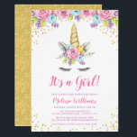 "Watercolor Floral Unicorn Baby Shower Invitations<br><div class=""desc"">Sweet unicorn girl baby shower invitations. This cute design features watercolor pink,  purple and blue flowers,  unicorn face and faux gold glitter confetti.</div>"