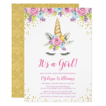 Watercolor Floral Unicorn Baby Shower Invitations by printcreekstudio at Zazzle