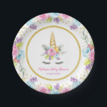 "Watercolor Floral Unicorn Baby Shower Paper Plate<br><div class=""desc"">Sweet unicorn girl baby shower paper plates. This cute design features watercolor pink,  purple and blue flowers,  unicorn face and faux gold glitter confetti.</div>"