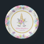 """Watercolor Floral Unicorn Baby Shower Paper Plate<br><div class=""""desc"""">Sweet unicorn girl baby shower paper plates. This cute design features watercolor pink,  purple and blue flowers,  unicorn face and faux gold glitter confetti.</div>"""