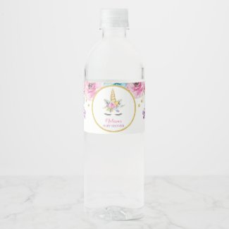 Watercolor Floral Unicorn Baby Shower Water Bottle Label