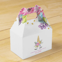 Watercolor Floral Unicorn Birthday Favor Box