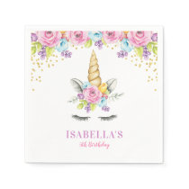Watercolor Floral Unicorn Birthday Paper Napkin