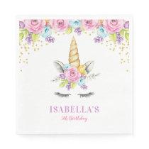 Watercolor Floral Unicorn Birthday Paper Napkin