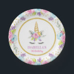 "Watercolor Floral Unicorn Birthday Paper Plate<br><div class=""desc"">Sweet unicorn girl birthday party paper plates. This cute design features watercolor pink,  purple and blue flowers,  unicorn face and faux gold glitter confetti.</div>"