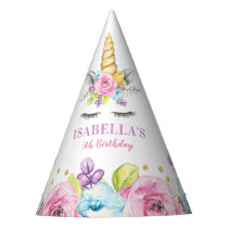 Watercolor Floral Unicorn Birthday Party Hat