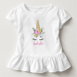 Watercolor Floral Unicorn Birthday Personalized Toddler T-shirt