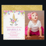 "Watercolor Floral Unicorn Birthday Photo Invites<br><div class=""desc"">Sweet unicorn girl birthday party photo invitations. This cute design features watercolor pink,  purple and blue flowers,  unicorn face and faux gold glitter confetti.</div>"