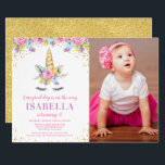 """Watercolor Floral Unicorn Birthday Photo Invites<br><div class=""""desc"""">Sweet unicorn girl birthday party photo invitations. This cute design features watercolor pink,  purple and blue flowers,  unicorn face and faux gold glitter confetti.</div>"""