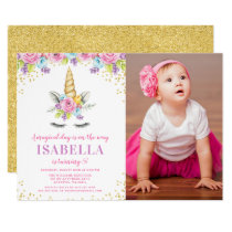 Watercolor Floral Unicorn Birthday Photo Invites