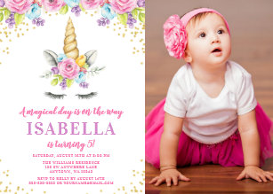 Floral birthday invitations zazzle watercolor floral unicorn birthday photo invites filmwisefo