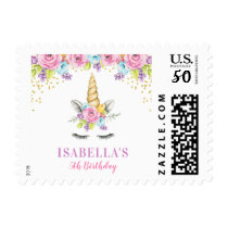 Watercolor Floral Unicorn Birthday Postage