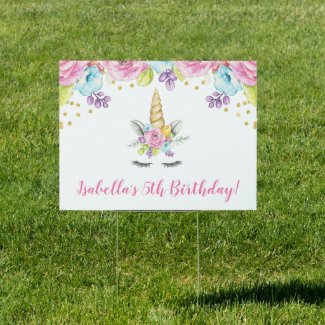 Watercolor Floral Unicorn Birthday Yard Sign