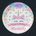 "Watercolor Floral Unicorn Face Birthday Party Paper Plate<br><div class=""desc"">Watercolor Floral Unicorn Face Birthday Party</div>"