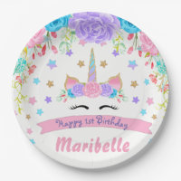 Watercolor Floral Unicorn Face Birthday Party Paper Plate