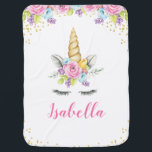 "Watercolor Floral Unicorn Personalized Baby Blanket<br><div class=""desc"">Sweet unicorn girl baby blanket. This cute design features watercolor pink,  purple and blue flowers,  unicorn face and faux gold glitter confetti.</div>"