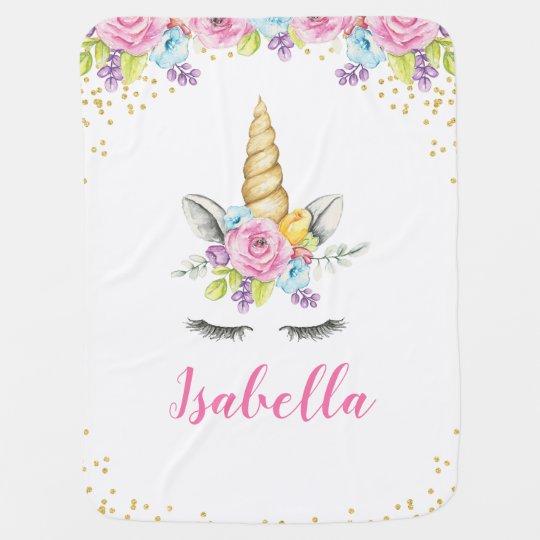 watercolor floral unicorn personalized baby blanket zazzle com