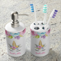 Watercolor Floral Unicorn Personalized Bath Set