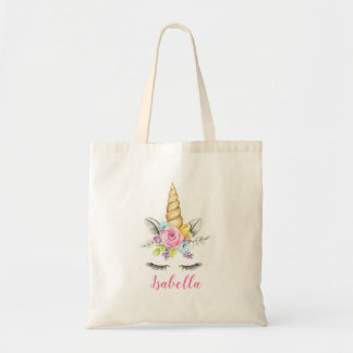 Watercolor Floral Unicorn Personalized Tote Bag