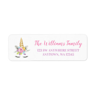 Watercolor Floral Unicorn Return Address Label