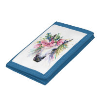 Watercolor Floral Unicorn TriFold Nylon Wallet