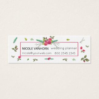Watercolor Floral Vintage Bough Rose Leaf Pattern Mini Business Card