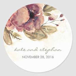Watercolor Floral Vintage Wedding Classic Round Sticker