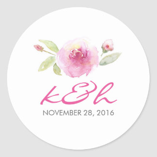 watercolor floral wedding classic round sticker