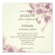 """Watercolor Floral Wedding Invitation 5.25"""" Square Invitation Card at Zazzle"""